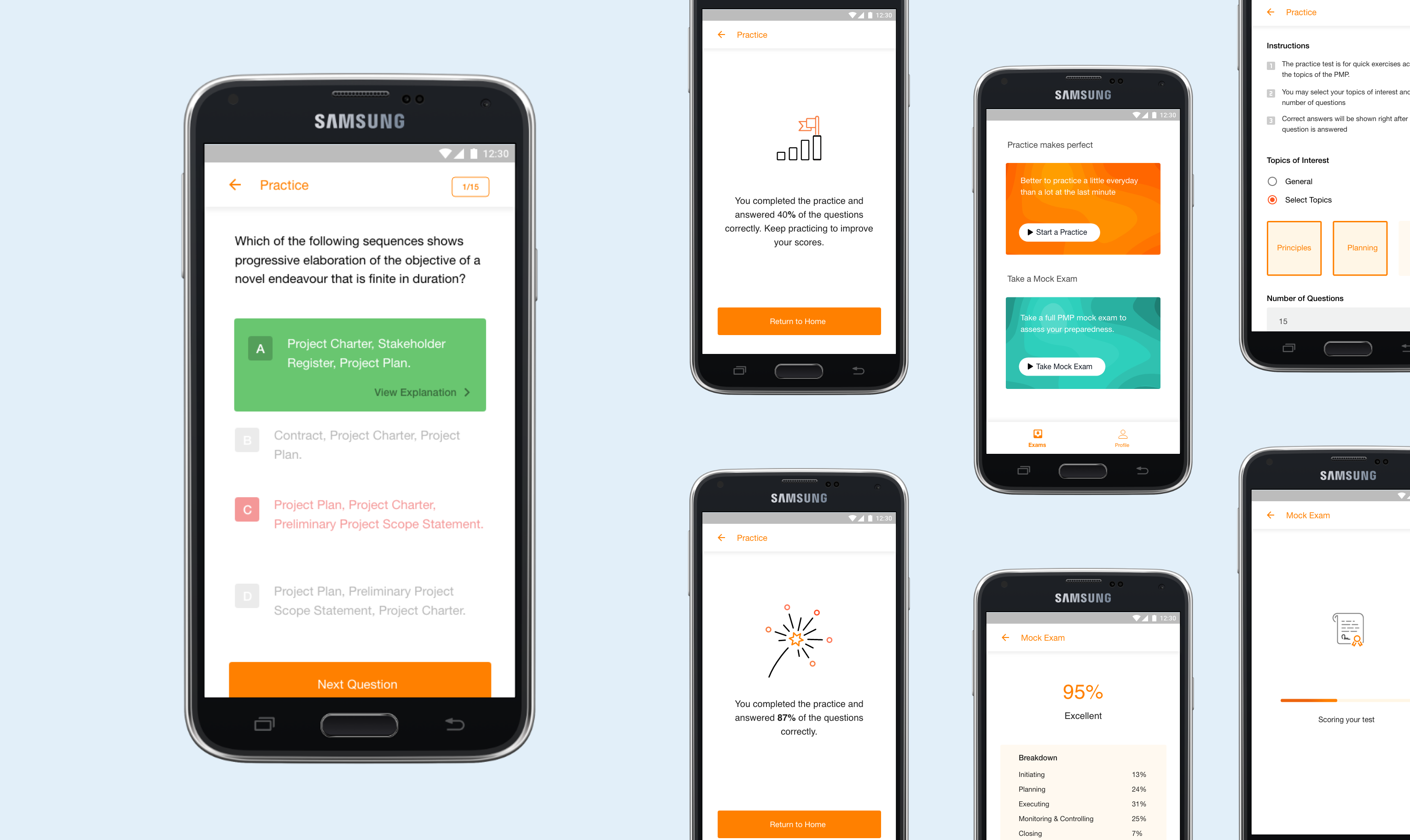 Screens from Test Prep App